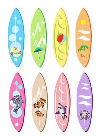 An Illustration Collection of Surfboards with Eight Assorted Painting Designs Isolated on White Backgrounds Vector