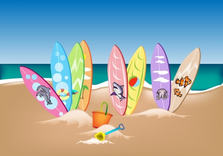 An Illustration Collection of Surfboards with Beach Bucket and Spade on A Beautiful Summer Beach Vector