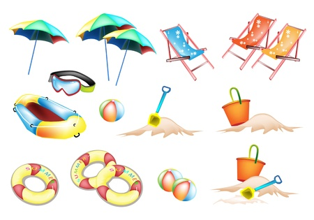 An Illustration Collection of Beach Items, Beach Ball, Inner Tube, Umbrella, Deck Chair, Beach Bucket and Spade  Vector
