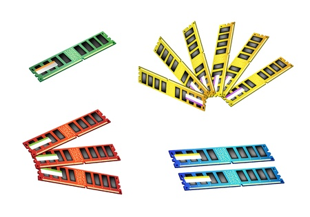 random access memory: Computer Memory Chips, An Illustration Collection of Colorsful Random Access Memory or RAM in Four Assorted Colours
