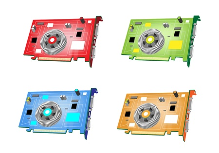 pci: An Illustration Collection of Colorsful Computer Graphic Card or Video Card in Four Assorted Colours, Red, Green, Blue and Orange