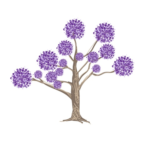 An Abstract Illustration of Landscaping Tree Symbols or Isometric Tree with Purple Flowers for Garden Decoration Vector