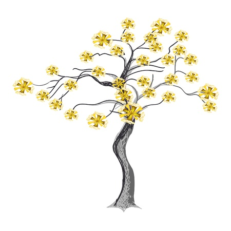 An Abstract Illustration of Landscaping Tree Symbols or Isometric Tree with Yellow Flowers for Garden Decoration Vector