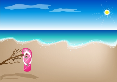 A Pair of Cool Flip Flop Sandal Hanging on Branch of Tree on A Beautiful Summer Beach Vector