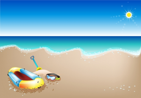 An Illustration of Yellow Inflatable Boat, Scuba Mask and Beach Shovel on A Beautiful Summer Beach Vector