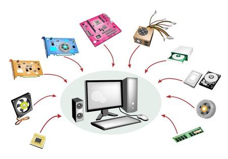 Une illustration Collection de mat�riel d'ordinateur isol� sur fond blanc