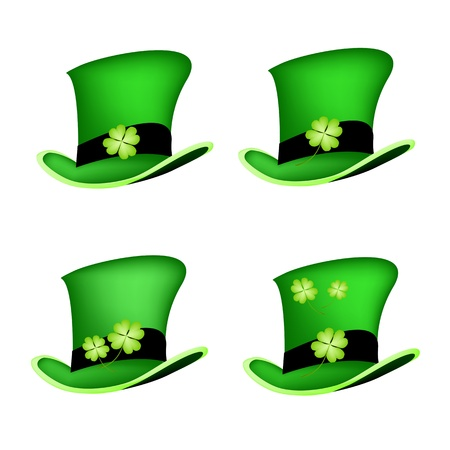 cloverleafes: Simboli per fortuna e la fortuna, un'illustrazione Collezioni di Fresh Four Leaf piante di trifoglio o trifoglio su San Patrizio