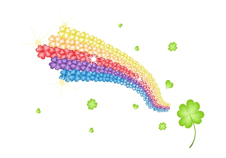 cloverleafes: Symbols for Fortune and Luck, An Illustration Background of Four Leaf Clovers or Shamrocks Forming The Rainbow Shape for St  Patricks Day Celebration