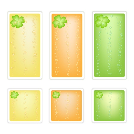 Symbols for Fortune and Luck, An Illustration Colllection of Four Leaf Clovers or Shamrocks Label for St  Patricks Day Celebration Vector
