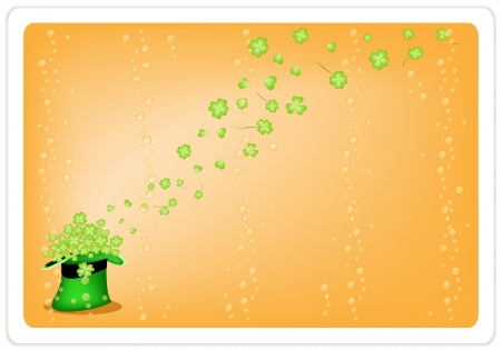 Symbols for Fortune and Luck, A Orange Background of Fresh Green Four Leaf Clover Plants or Shamrock in Saint Patrick Stock Vector - 18252062