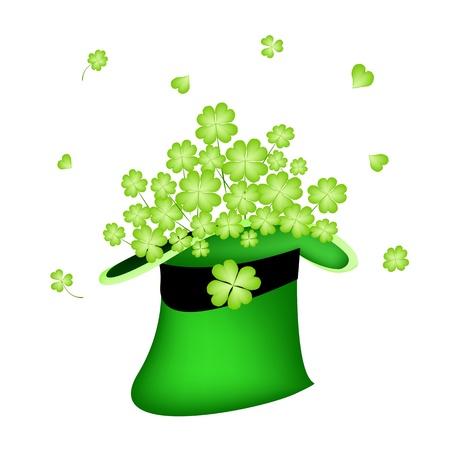cloverleafes: Simboli per fortuna e la fortuna, L'illustrazione di verde fresco Four Leaf Clover piante o Shamrock a San Patrizio