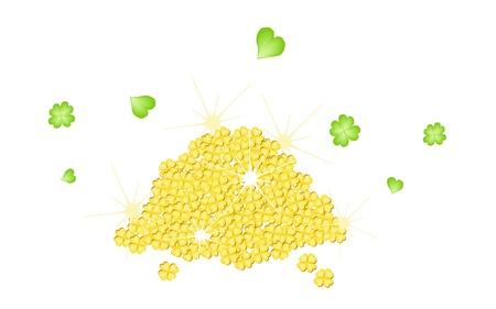 cloverleafes: Simboli per fortuna e la fortuna, un'illustrazione Una pila di quattro trifogli foglia d'oro o Acetoselle per St Patricks Day Celebration Archivio Fotografico