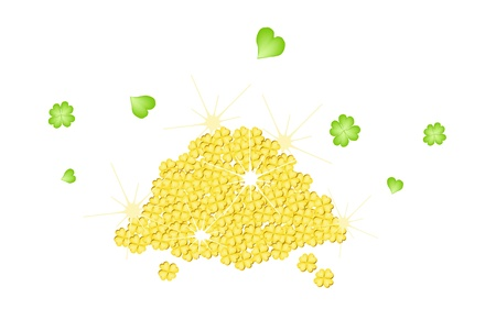 Symbols for Fortune and Luck, An Illustration A Stack of Golden Four Leaf Clovers or Shamrocks for St  Patricks Day Celebration illustration