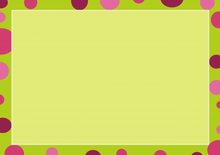 Abstract Luxury Light Green Background with A Lemon Green Frame Border and Multi Shade Pink Round Bubble, Copy Space for Text Decorated  Vector