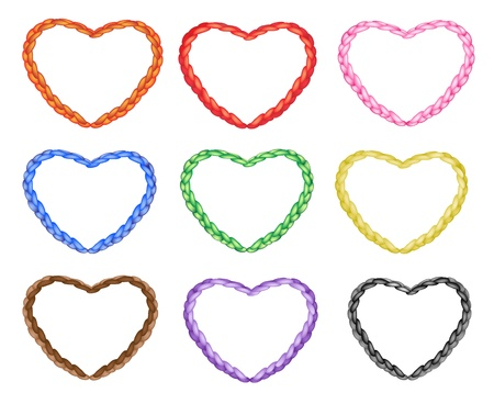 multi colors: Love Concept, A Beautiful Multi Colors Heart Shapes Made of The Rope in Nine Colours