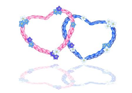 Love Concept, Illustration de belles formes de coeur rose et bleu faite de l'arrangement de corde avec Forget Me Not Flower Illustration