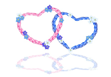 Love Concept, Illustration of Beautiful Pink and Blue Heart Shapes Made of The Rope Arrangement with Forget Me Not Flower