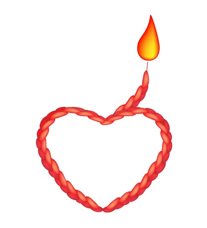 Love Concept, Fire Flame on A Beautiful Tied Knot Heart Shapes Made of Orange Rope