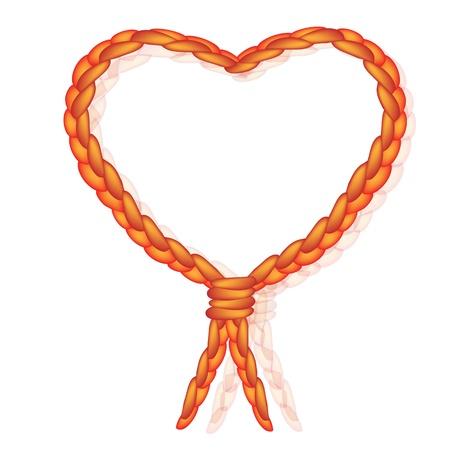 Love Concept, une belle forme de coeur Tied Knot en corde orange