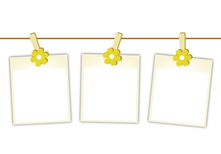 Illustration of Three Blank Instant Photo Prints or Polaroid Frames Hanging on Yellow Cosmos Flower Clothespins, Isolated on A White Background