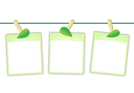 Illustration of Three Blank Instant Photo Prints or Polaroid Frames Hanging on Lovely Green Leaf Clothespins, Isolated on A White Background