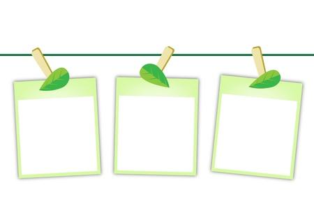 3 빈 인스턴트 사진 인쇄 또는 폴라로이드 프레임 흰색 배경에 고립 된 사랑스러운 녹색 잎 빨래 집게에 매달려의 그림 일러스트