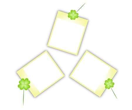 Love Concept, Illustration of Lovely Four Leaf Clover or Shamrock Plants with Yellow Blank Instant Photo Prints or Polaroid Frames Isolated on A White Background Vector