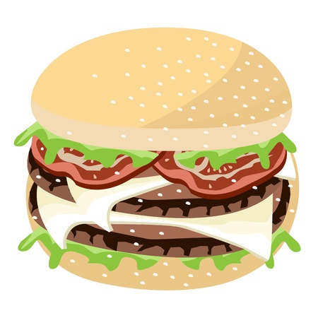 An Illustration of Delicious Double Cheese Burgery with Lettuce, Tomato, Onions and Cheese on Wheat Buns Vector