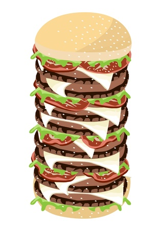 gigantic: An Illustration of Delicious Gigantic Cheese Burgery with Lettuce, Tomato, Onions and Cheese on Wheat Buns Illustration