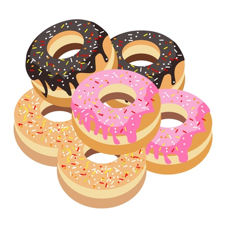 toppings: Food and Bakery, An Illustration Stack of Delicious Sweet Donuts with Chocolate, Strawberry and Vanilla Toppings