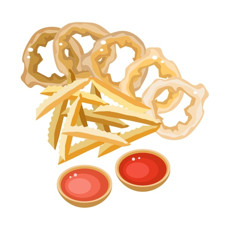 side dish: Fast Food, An Illustration of A Golden Pile of French Fries and Onion Ring with A Side of Ketchup