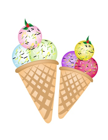 An Illustration Colorful of Ice cream Variations in Two Waffle Cones, Isolated on White Background Vector