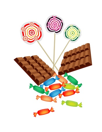 Sweet Food, An Illustration Bar of Milk Chocolate, Wrapped Hard Candy and Colorful Lollipops Isoleted on White Background Vector