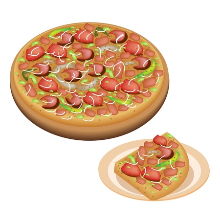 An Illustration of Serving Delicious Pepperoni Pizza and Sliced Pizza with Fresh Tomato, Pesto Sauce, Olives, Basil Leaves and Gobs of Mozzarella Cheese