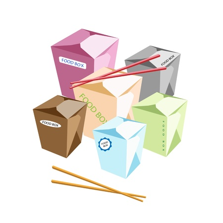 carrying out: An Illustration of Muti Size and Colorful Blank Chinese Food Containers and Chopsticks Isoleted on White Background