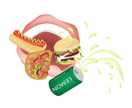 chew over: Unhealthy Eating, Illustration of Person Eating A Lot of Unhealthy Fast Food and Junk Food, Hot Dog, Pizza, Hamburger and Lemon Soda in A Mouth
