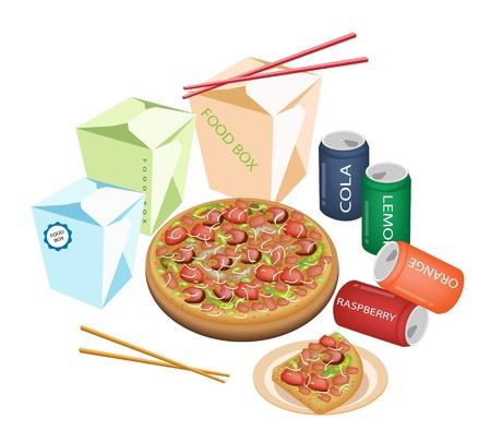 chinese fast food: Take Away restaurantes, una ilustraci�n de Comida para llevar, Boxs Chinese Food, pizzas y refrescos isoleted en el fondo blanco