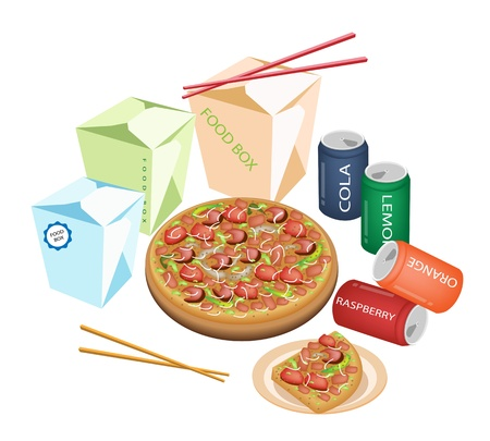 Take Away Restaurants, An Illustration of Take Out Food, Chinese Food Boxs, Pizzas and Soda Drinks Isoleted on White Background   Vector