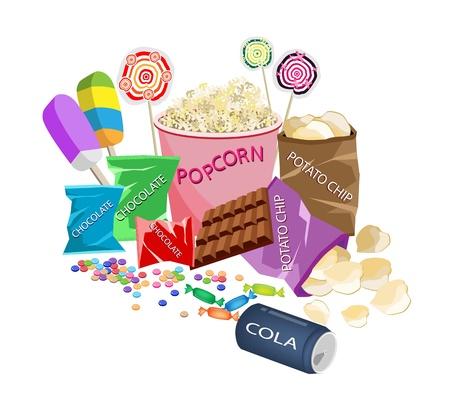 casse-cro�te: Alimentation Film, Une Illustration de pop-corn, sucettes, sucettes, tablette de chocolat, bonbons chocolats, bonbons durs et pommes chips Pr�par� � regarder un cin�ma