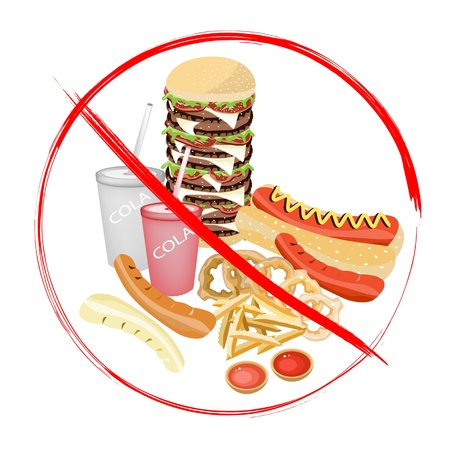 deep fried: No Fast Food, An Illustration of Forbidden or Prohibition Sign on Different Types of Junk Food, Soda Drink, Hot Dog, Hamburger, French Fries and Onion Ring