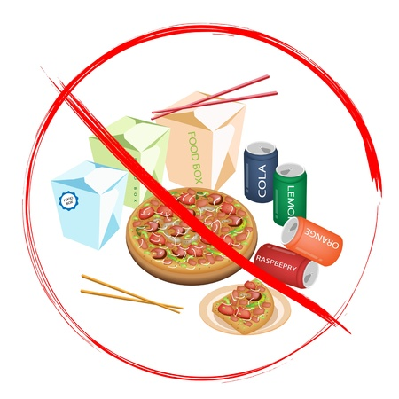 No Fast Food, An Illustration of Forbidden or Prohibition Sign on Different Types of Fast Food, Soda Drink, Food Boxs and Pizzas Vector