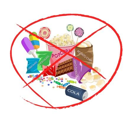 Aucune Mets sucr�, Une Illustration de Forbidden-vous ou Inscrivez Interdiction de diff�rents types de collations et aliments sucr�s, Popcorn, sucettes, sucettes, chocolat, bonbons et croustilles