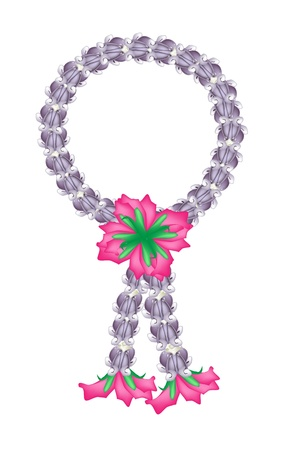 milkweed: A Symbol of Love and Luxury, An Illustration of Beautiful Flower Garland with Purple Calotropis Gigantea Flower and Red Roses Blossoms, The Garland in Thai Tradition Style