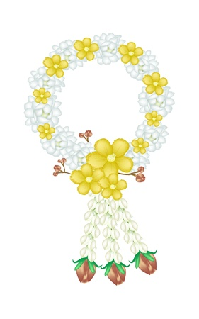 A Symbol of Love and Luxury, An Illustration of Beautiful Flower Garland with White Jasmine Flowers, Yellow Simpor Flowers or Dillenia Flowers and Red Roses, The Garland in Thai Tradition Style Stock Vector - 18520793