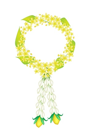 fistula: A Symbol of Love and Luxury, An Illustration of Beautiful Flower Garland with Fresh Cassia Fistula or Golden Shower Flower, Jasmine Flower and Yellow Rose Blossoms, The Garland in Thai Tradition Style