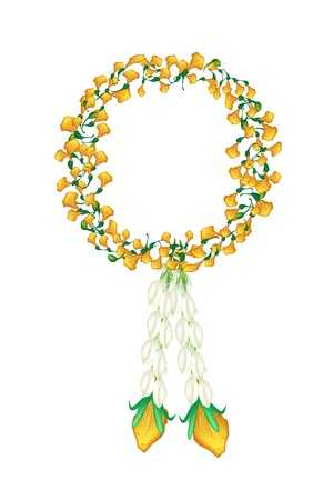 ayurveda: A Symbol of Love and Luxury, An Illustration of Beautiful Flower Garland with Yellow Padauk Flower or Papilionoideae Flower and Jasmine Flower, The Garland in Thai Tradition Style