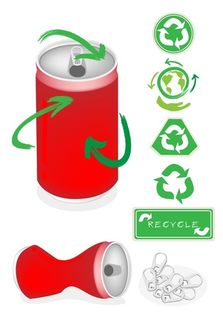 scrap metal: Recycle Concept Or Save The Earth Concept, An Illustration Collection of Open Red Can with A Recycle Sign and Hand Hold The World With Recycle Arrow Around