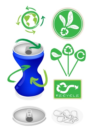 scrap metal: An Illustration Collection of Open Blue Can with A Recycle Sign for Recycle Concept Or Save The Earth Concept