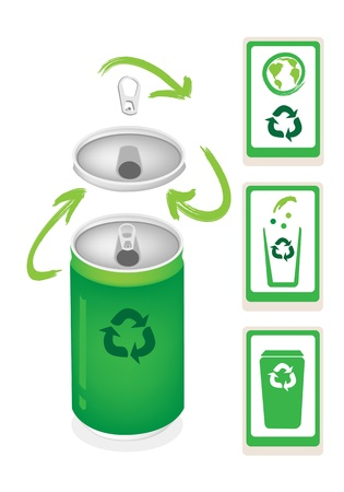 Recycle Concept Or Save The Earth Concept, An Illustration Collection of Open Green Can with A Recycle Sign and Recycling Bins Vector