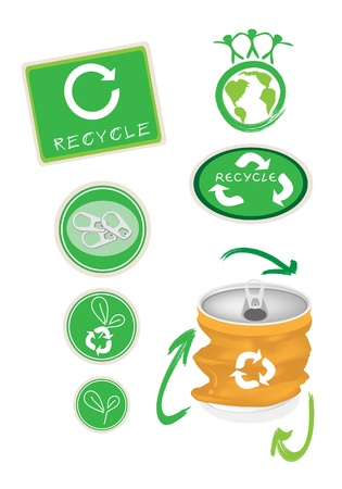 crushed aluminum cans: Recycle Concept Or Save The Earth Concept, An Illustration Collection of Open Yellow Can with A Recycle Sign and People Holding Hand for Save The World Together Illustration